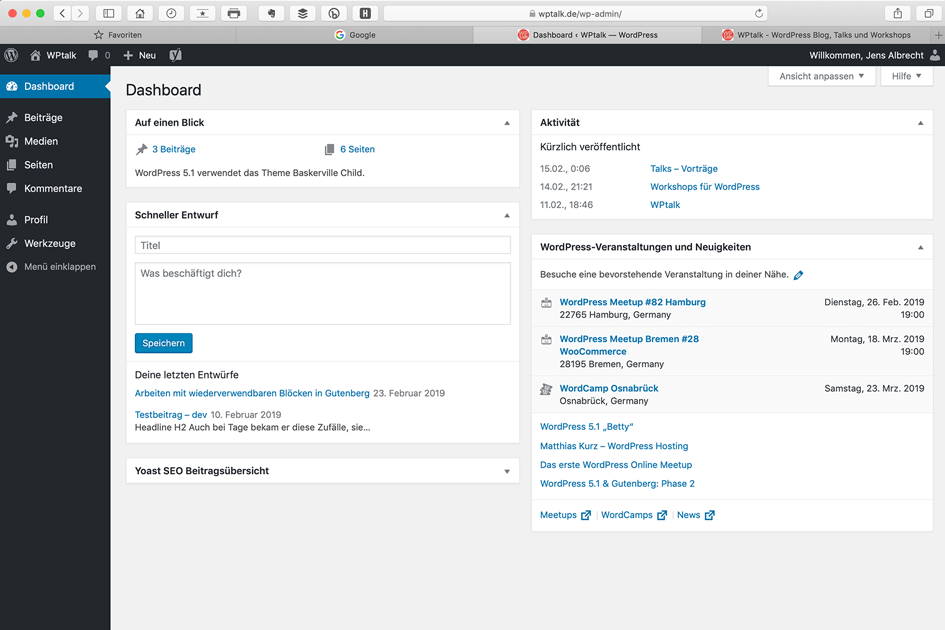 Screenshot das Backends von WordPress - Bereich Dashboard